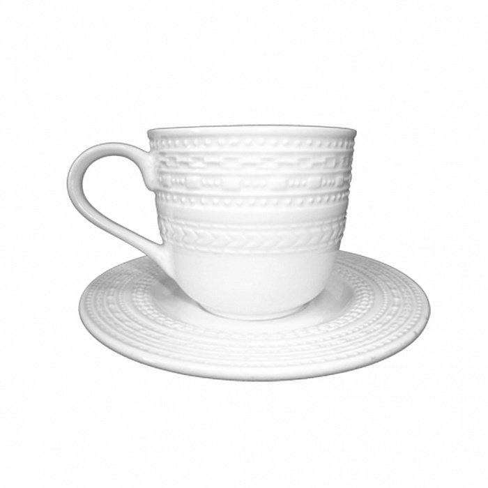 Чайная пара Relief белого цвета