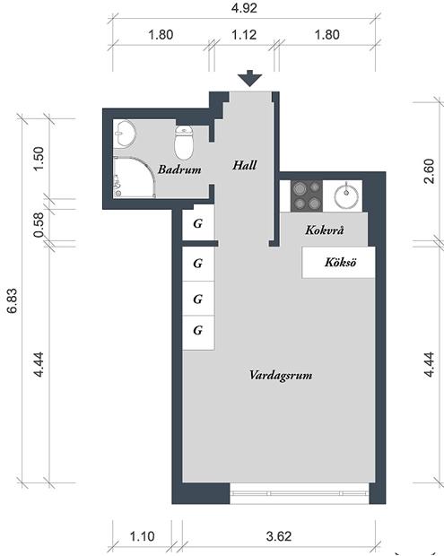 Фотография: Планировки в стиле , Скандинавский, Малогабаритная квартира, Квартира, Дома и квартиры – фото на INMYROOM