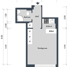 Фотография: Планировки в стиле , Скандинавский, Малогабаритная квартира, Квартира, Дома и квартиры – фото на InMyRoom.ru