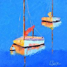 Картина (репродукция, постер): Two boats at the lake - Лесли Саета