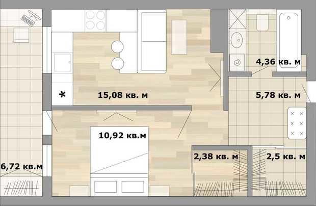 Фотография:  в стиле , Малогабаритная квартира, Перепланировка, как из однушки сделать двушку, дизайн однокомнатной квартиры, дом серии II-67, как обустроить однушку для семьи с двумя детьми, варианты планировки пространства в однокомнатной квартире, идеи для владельцев однушек, варианты планировки однокомнатной квартиры в II-67, II-67 – фото на InMyRoom.ru