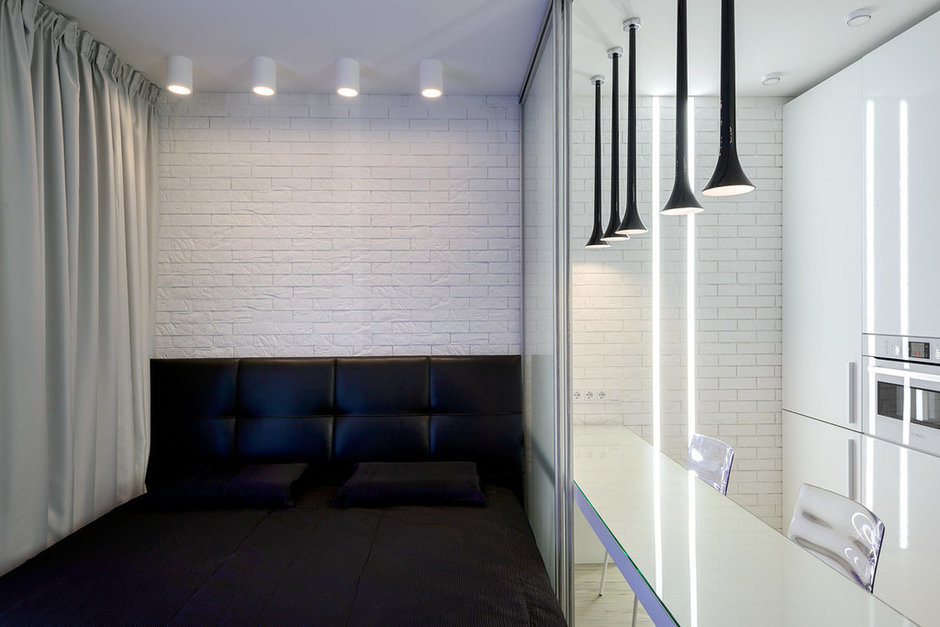 Фотография: Спальня в стиле Современный, Малогабаритная квартира, Квартира, Дома и квартиры, Минимализм, Переделка – фото на InMyRoom.ru
