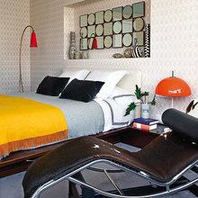 Фотография: Спальня в стиле Современный, Квартира, Цвет в интерьере, Дома и квартиры, Желтый, Бирюзовый – фото на InMyRoom.ru