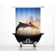 Шторы в ванну: Влюбленные дельфины