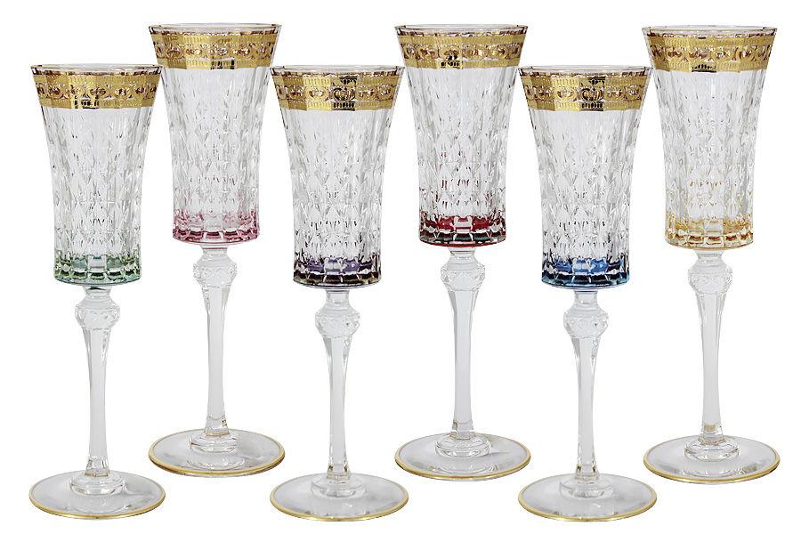 Купить Набор: 6 бокалов для шампанского Цветная флоренция , inmyroom, Италия