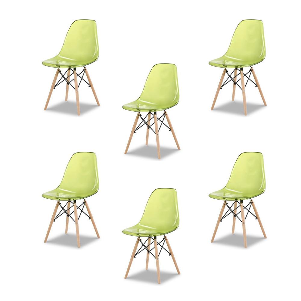 Купить Набор из шести стульев с зеленым прозрачным сидением, inmyroom, Китай