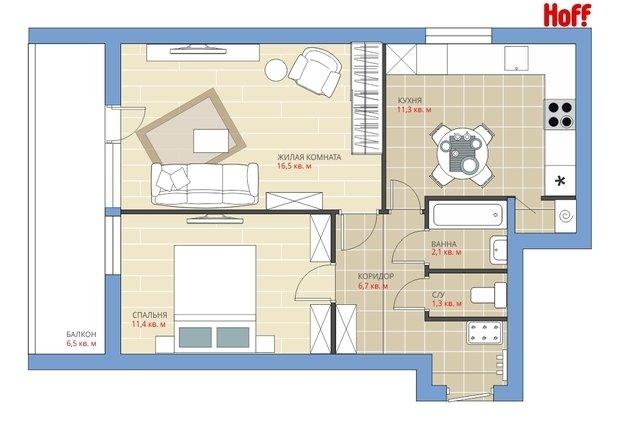 Фотография:  в стиле , Квартира, Планировки, HOFF, Перепланировка, HOFF, Анастасия Киселева, II-68, 2 комнаты, 40-60 метров – фото на InMyRoom.ru