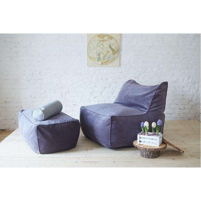 Кресло с пуфом фиолетового цвета