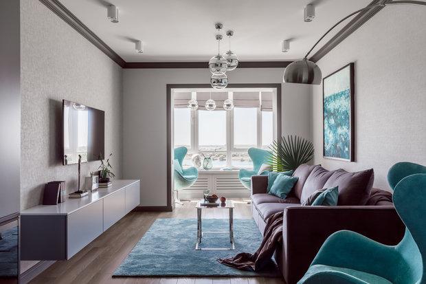 Фотография: Гостиная в стиле Современный, Квартира, Проект недели, Краснодар, 3 комнаты, Более 90 метров, Archigram, Евгения Княжева – фото на INMYROOM