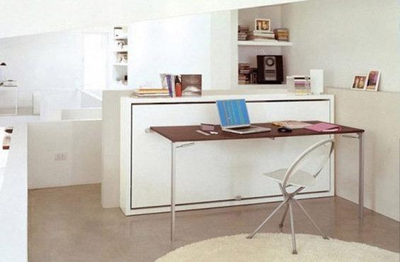 Фотография: Кабинет в стиле Минимализм, Декор интерьера, Малогабаритная квартира, Мебель и свет, Мебель-трансформер – фото на InMyRoom.ru