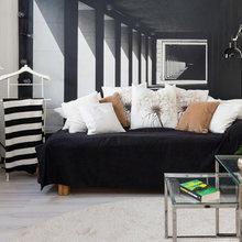 Фотография: Гостиная в стиле Скандинавский, Современный, Малогабаритная квартира, Квартира, Мебель и свет, Белый, Черный – фото на InMyRoom.ru