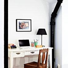 Фотография: Кабинет в стиле Кантри, Лофт, Скандинавский, Квартира, Швеция, Цвет в интерьере, Дома и квартиры, Белый, Черный – фото на InMyRoom.ru