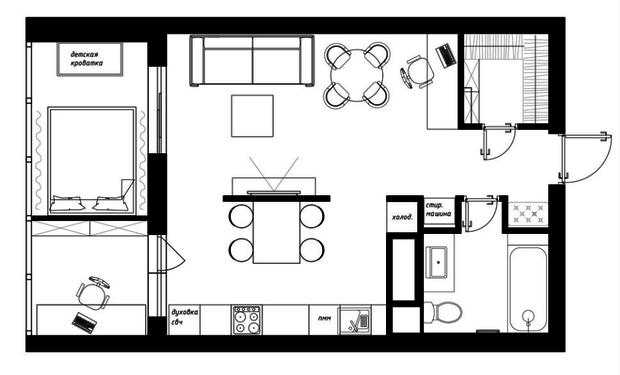 Фотография:  в стиле , Квартира, Перепланировка, Никита Зуб, Монолитный дом, 1 комната, 40-60 метров – фото на InMyRoom.ru