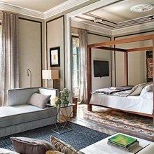 Фотография: Спальня в стиле Кантри, Кухня и столовая, Декор интерьера, Квартира, Мебель и свет, Цвет в интерьере, Дома и квартиры, Бежевый, Принт, Серый, Модерн – фото на InMyRoom.ru