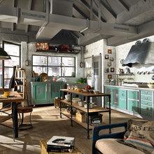 Фотография: Кухня и столовая в стиле Кантри, Лофт, Современный, Декор интерьера, Квартира, Дома и квартиры, Стена, Индустриальный – фото на InMyRoom.ru
