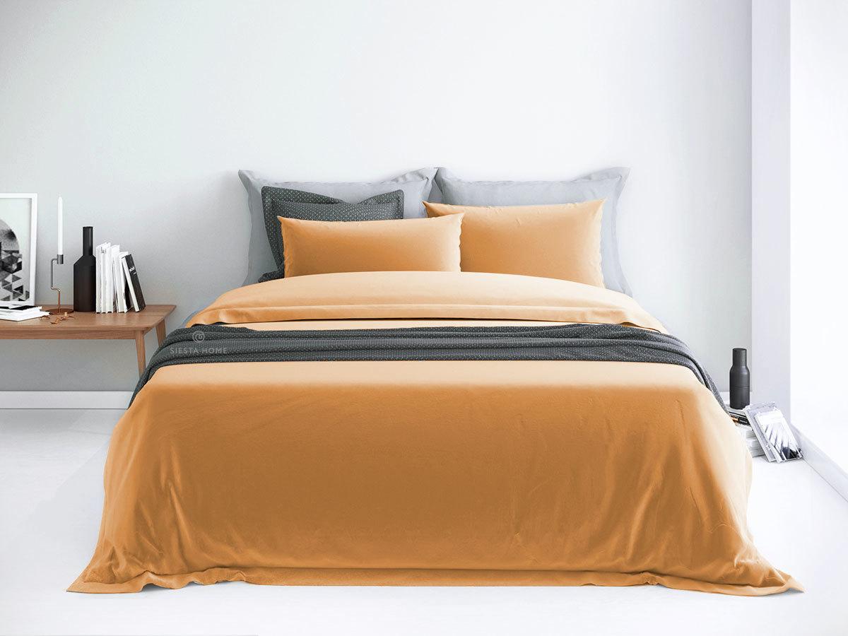 Комплект постельного белья карамельный, простынь 180х200 на резинке