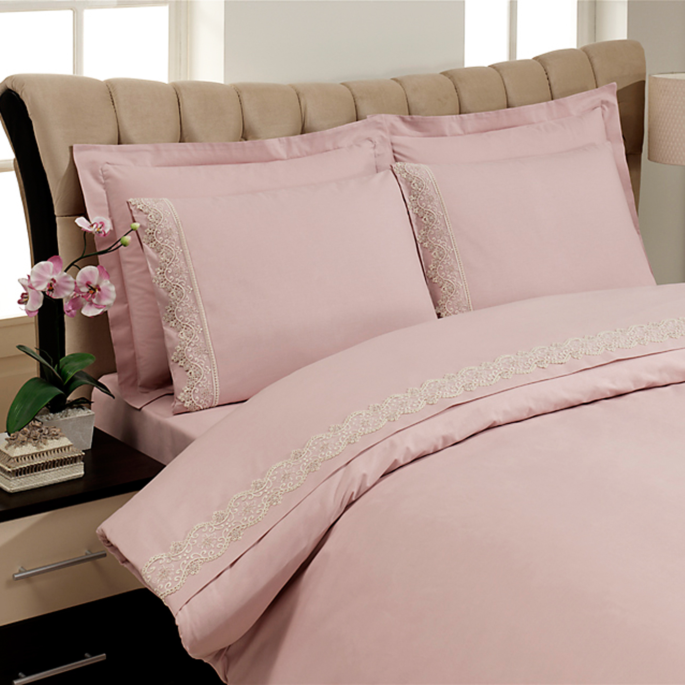 Купить Комплект постельного белья Crown Pink Euro, inmyroom, Турция