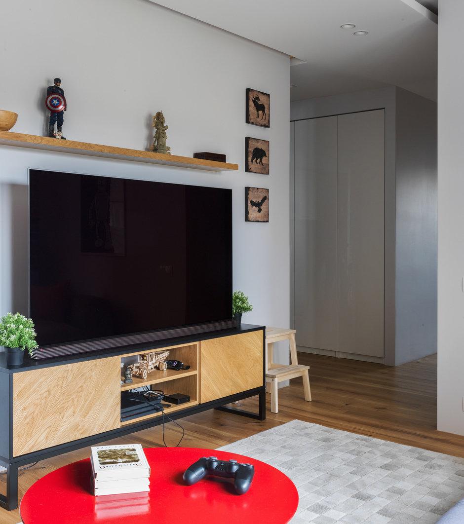 Фотография: Гостиная в стиле Лофт, Современный, Квартира, Проект недели, Geometrium, Монолитный дом, 2 комнаты, 60-90 метров, ЖК «Сколковский» – фото на InMyRoom.ru