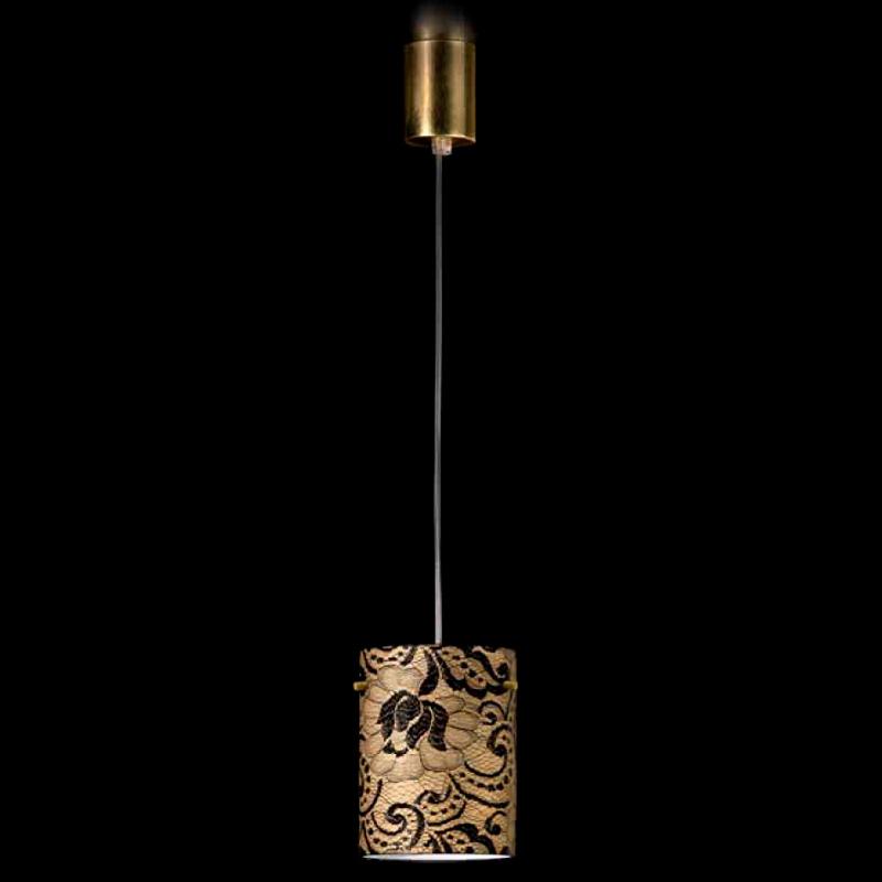 Купить Подвесной светильник Lamp di Volpato Patrizia Pizzo из металла золотого цвета и обтянут кружевной тканью черного цвета, inmyroom, Италия