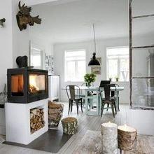 Фотография: Кухня и столовая в стиле Скандинавский, Современный, Декор интерьера, Декор дома, Камин – фото на InMyRoom.ru