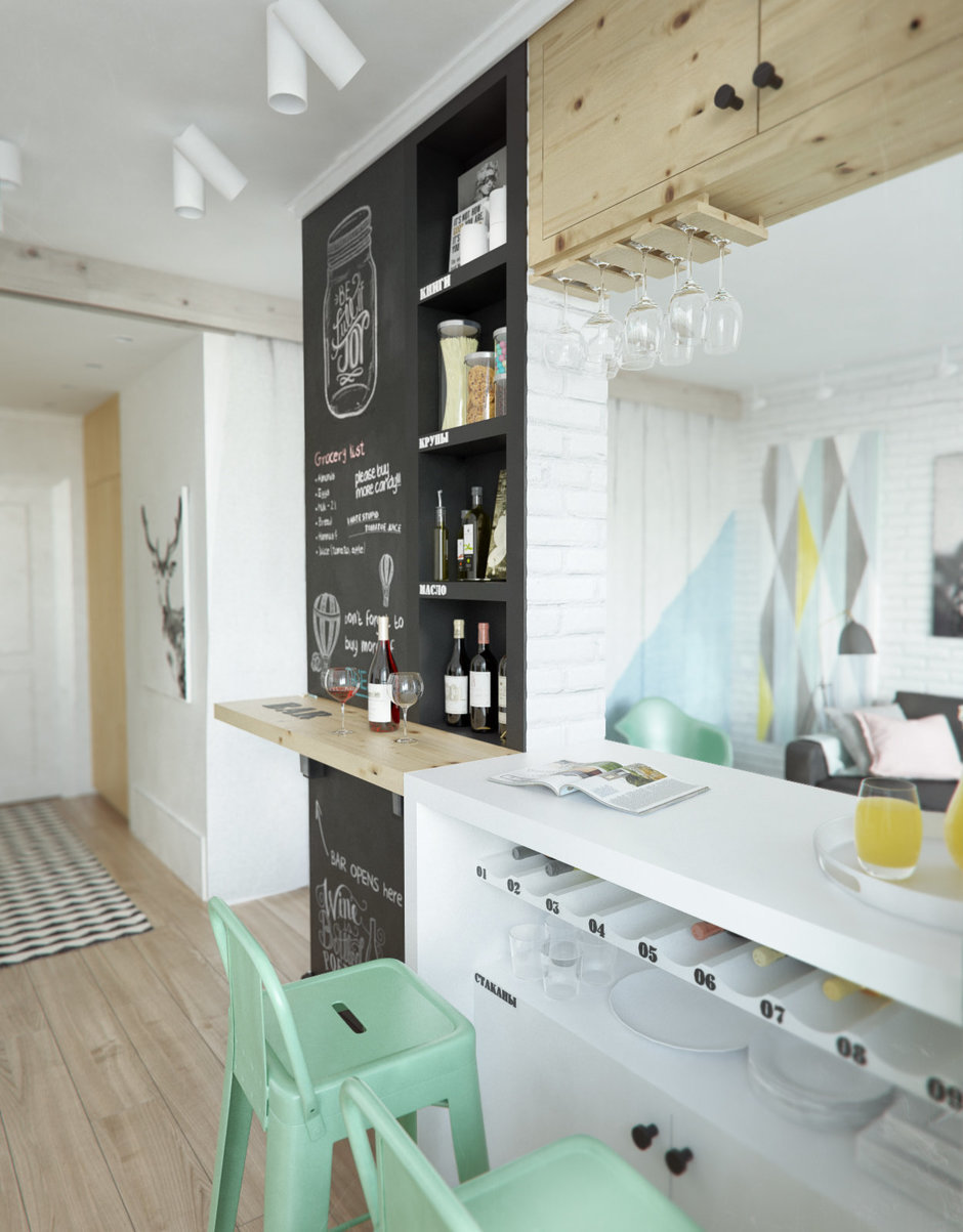 Фотография: Кухня и столовая в стиле Лофт, Скандинавский, Эклектика, Малогабаритная квартира, Квартира, Планировки, Мебель и свет – фото на InMyRoom.ru