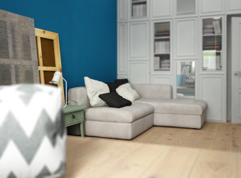 Фотография: Гостиная в стиле Лофт, Скандинавский, Квартира, Белый, Проект недели, Синий – фото на InMyRoom.ru
