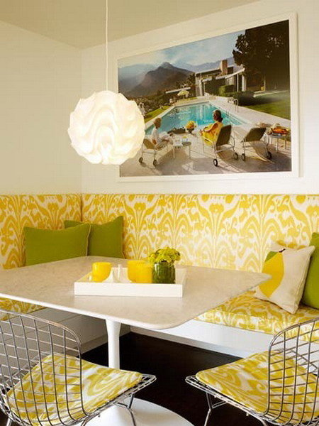 Желтая кухня в сочетании с салатовым цветом
