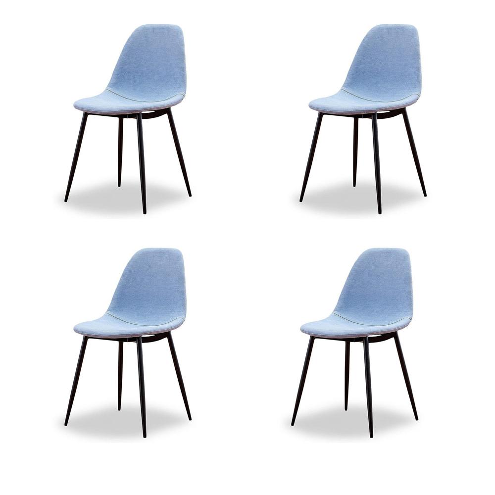Купить Набор из четырех стульев в голубой тканевой обивке, inmyroom, Китай