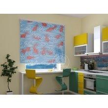 Рулонные шторы на кухню: Рыбки в озере