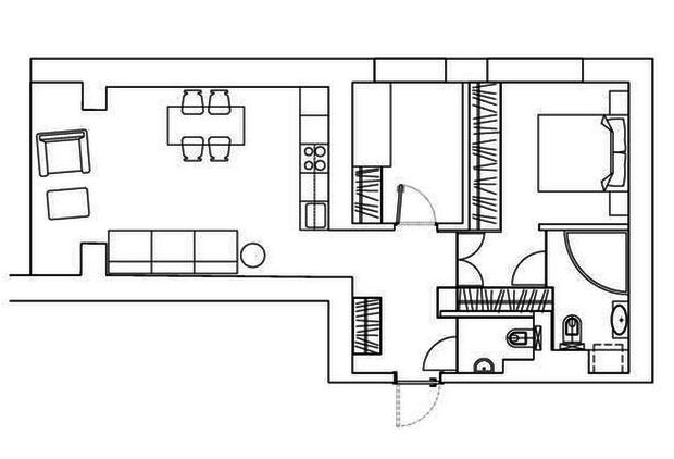 Фотография: Планировки в стиле , Скандинавский, Квартира, Цвет в интерьере, Дома и квартиры, Перепланировка, Серый – фото на InMyRoom.ru