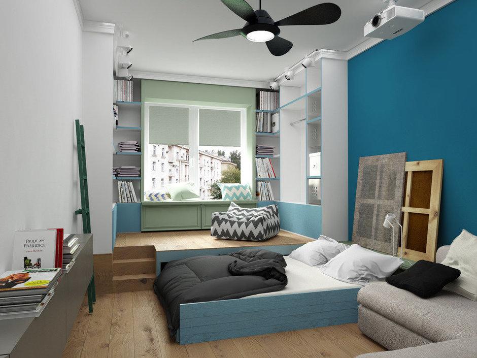 Фотография: Спальня в стиле Лофт, Скандинавский, Квартира, Белый, Проект недели, Синий – фото на InMyRoom.ru