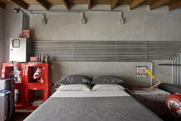Фотография: Спальня в стиле Лофт, Современный, Квартира, Дома и квартиры, Интерьеры звезд – фото на InMyRoom.ru