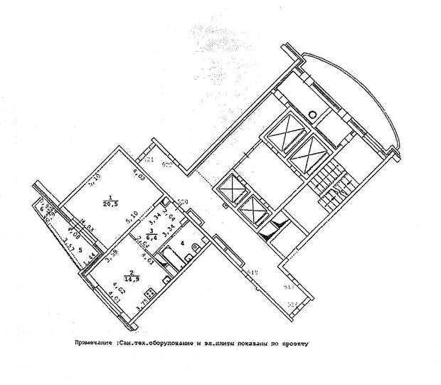 Перепланировка и дизайн однокомнатной квартиры общей площадью  54 кв. м