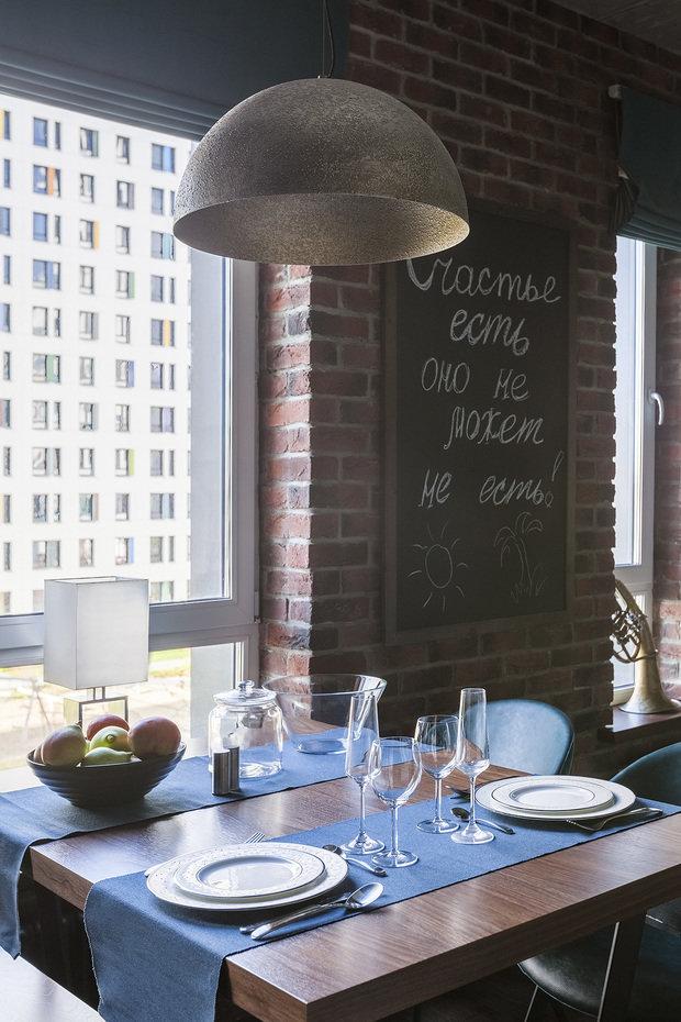 Фотография: Кухня и столовая в стиле Лофт, Квартира, Проект недели, Москва, Ирина Большакова, 2 комнаты, 60-90 метров, Монолитно-кирпичный – фото на INMYROOM