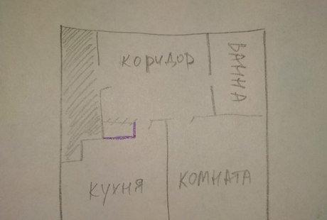 Увеличение коридора за счет кухни