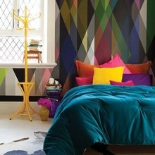 Фотография: Спальня в стиле Эклектика, Индустрия, Новости, Обои, Геометрия в интерьере – фото на InMyRoom.ru