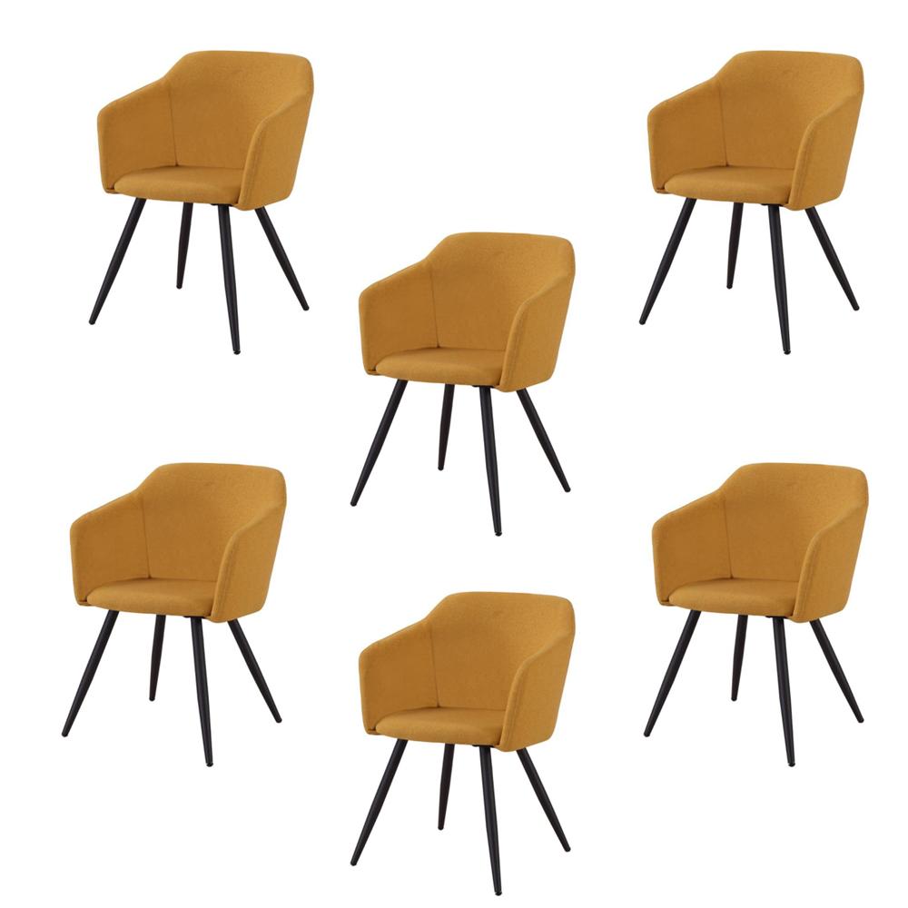 Купить Набор из шести стульев с обивкой из ткани желтого цвета, inmyroom, Китай