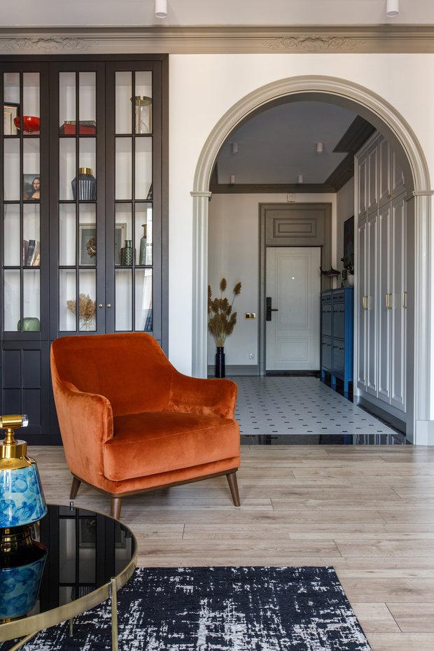 Фотография: Гостиная в стиле Современный, Эклектика, Квартира, Проект недели, 3 комнаты, Более 90 метров, AK Studio, Нур-султан – фото на INMYROOM