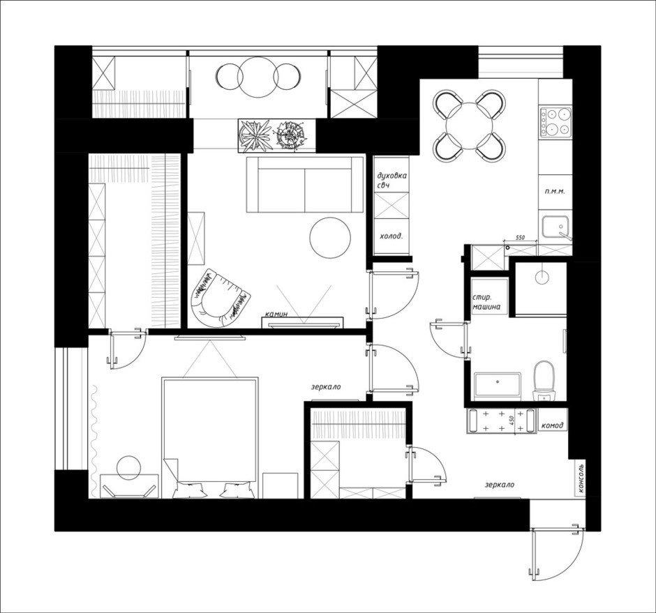 Фотография: Планировки в стиле , Квартира, Перепланировка, Москва, Никита Зуб, Монолитный дом, 2 комнаты, 40-60 метров – фото на InMyRoom.ru