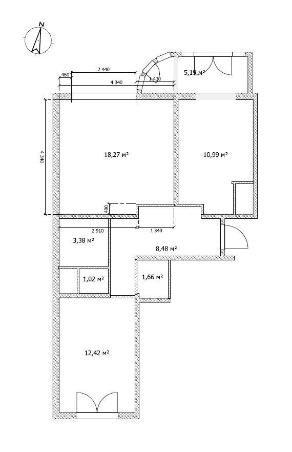 Квадратная комната сложна для зонирования