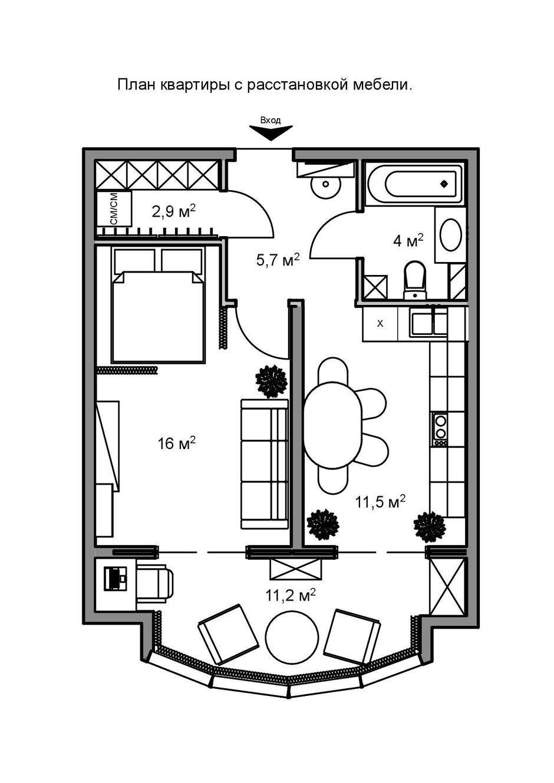 Фотография: Планировки в стиле , Современный, Квартира, Проект недели, Краснодар, Екатерина Кондратюк, Монолитный дом, 1 комната, 40-60 метров – фото на InMyRoom.ru