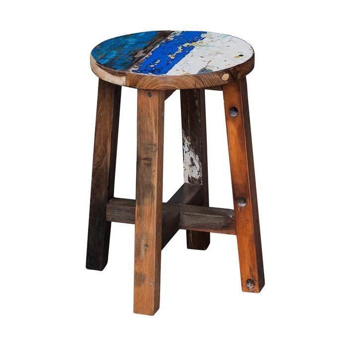 """Табурет """"Кинг"""" из массива древесины старого рыбацкого судна"""