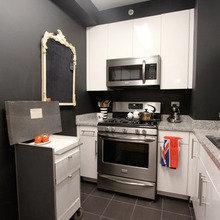 Фотография: Кухня и столовая в стиле Лофт, Малогабаритная квартира, Квартира, Дома и квартиры, Нью-Йорк, Ар-деко, Индустриальный – фото на InMyRoom.ru