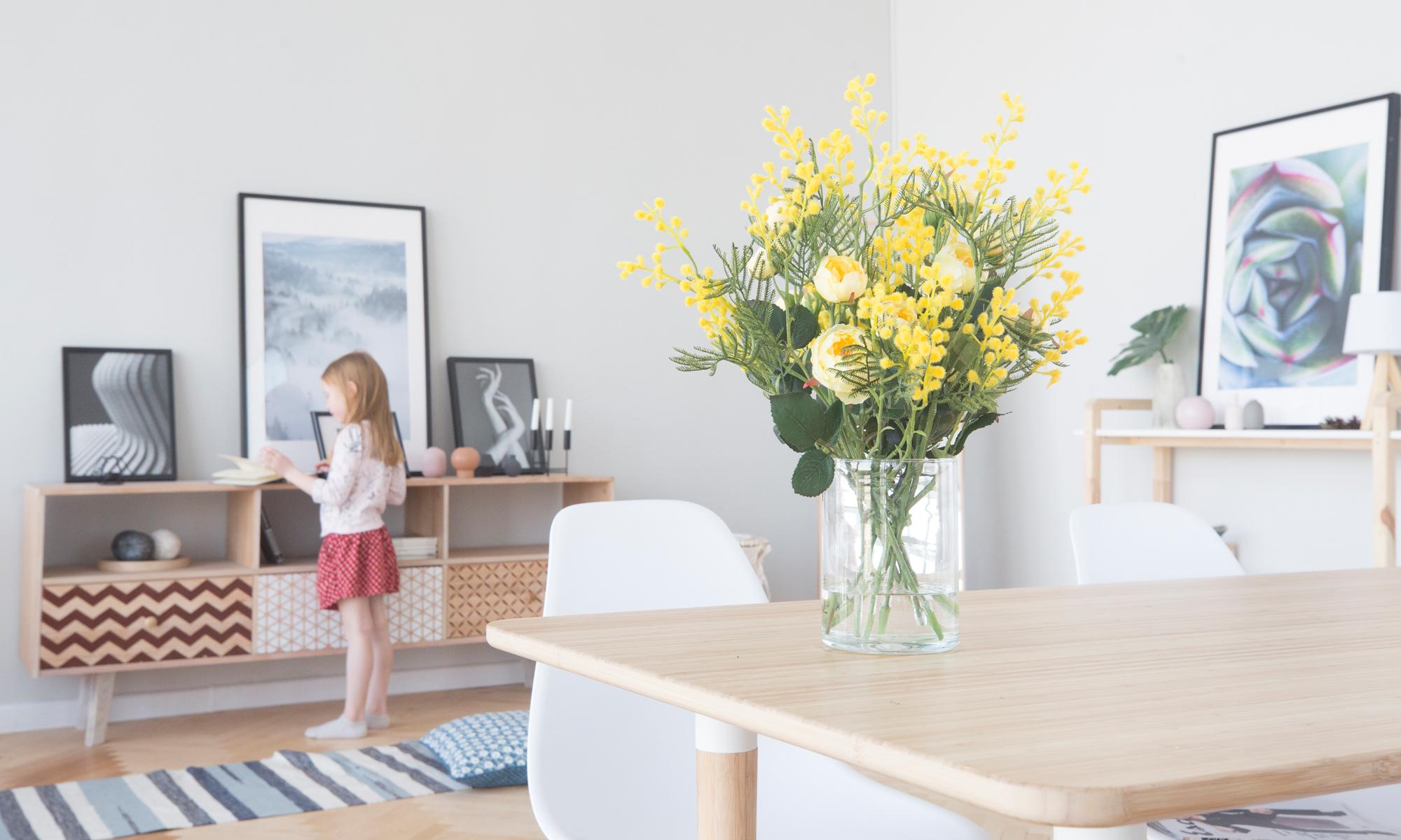 Купить Композиция из искусственных цветов - мимоза и розы лотте, inmyroom, Россия