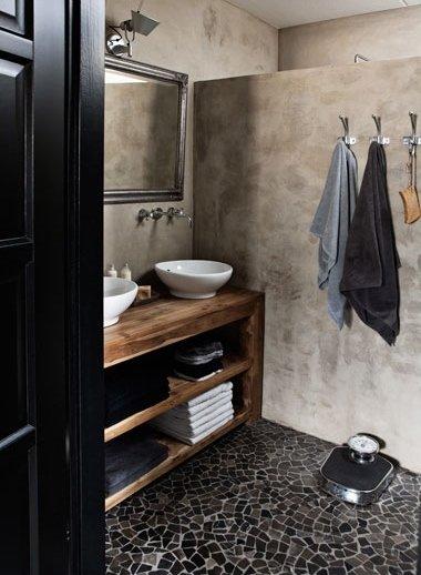 Фотография: Ванная в стиле Лофт, Дом, Цвет в интерьере, Дома и квартиры, Серый – фото на InMyRoom.ru