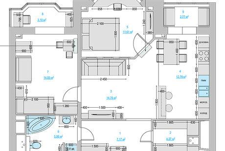 Перепланировка 2х комнатной квартиры в 3х серия дома и-155Н