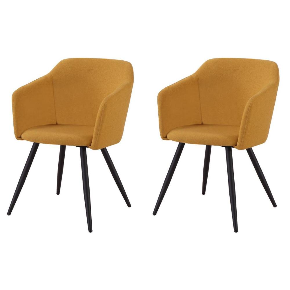 Купить Набор из двух стульев с обивкой из ткани желтого цвета, inmyroom, Китай