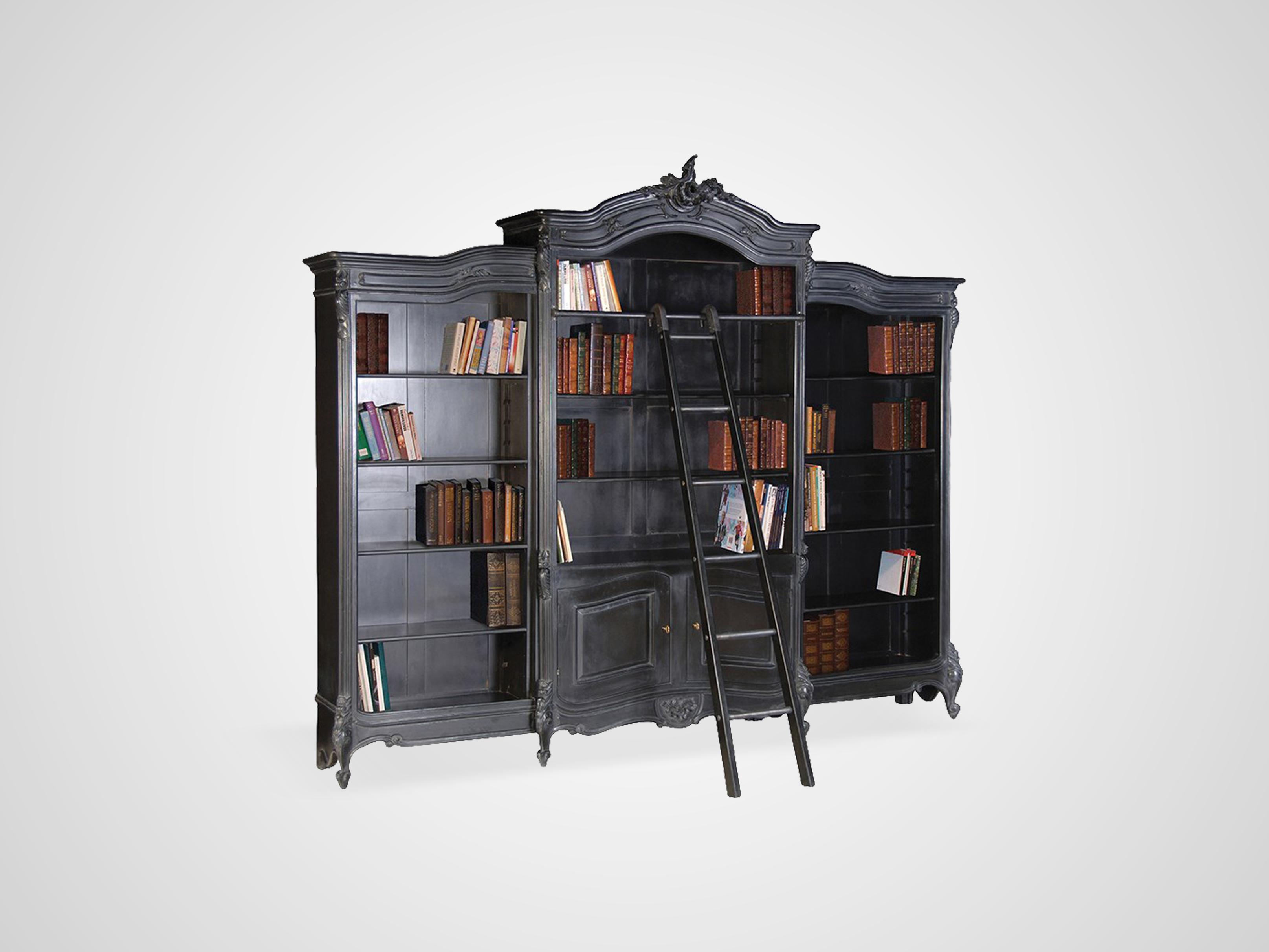 Библиотека из дерева махагони декорирована резьбой ручной работы