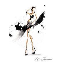 Картина (репродукция, постер): Black drip short dress - Клер Эшли Томпсон