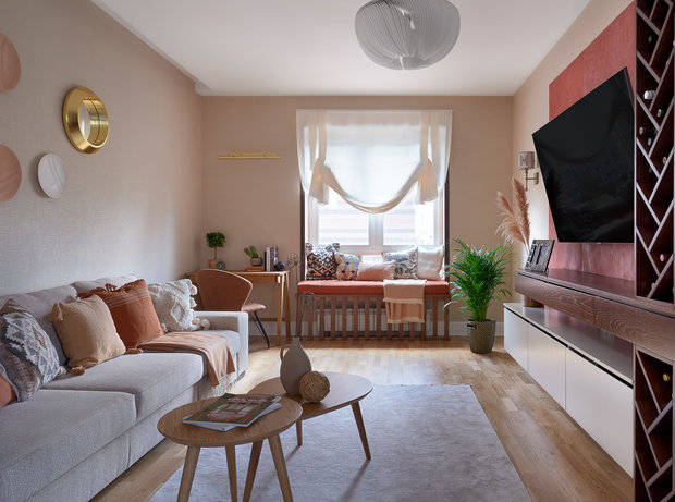Фотография: Гостиная в стиле Современный, Квартира, Проект недели, Москва, 3 комнаты, 60-90 метров, Евгения Ивлиева – фото на INMYROOM